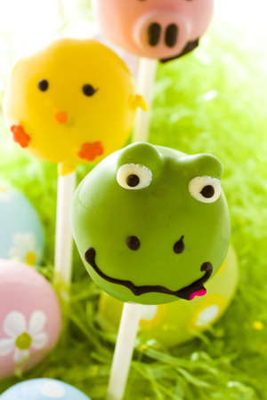 frog egg: Dark chocolate Easter cake pops decorates with faces of different animals.