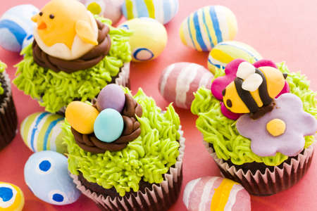 Gourmet chocolate Easter cupcakes individually decorated.