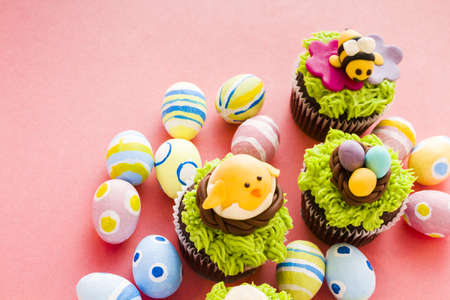Gourmet chocolate Easter cupcakes individually decorated. photo