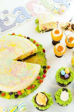 Easter sugar fest with variety of gourmet chocolate good. photo