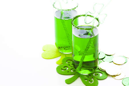 seltzer: Green carbonated drink with fancy straw for St Patrics day. Stock Photo