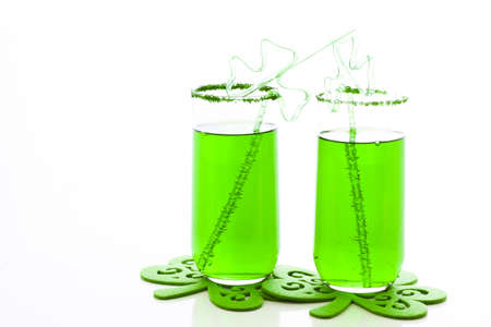 patrics: Green carbonated drink with fancy straw for St Patrics day. Stock Photo