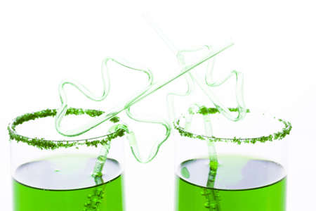 st patrics: Green carbonated drink with fancy straw for St Patrics day. Stock Photo