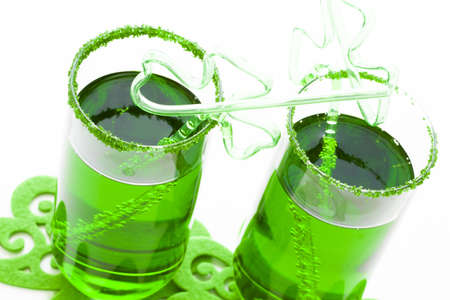 carbonated: Green carbonated drink with fancy straw for St Patrics day. Stock Photo