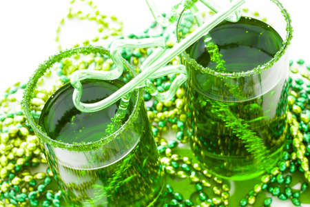 patrics: Green carbonated drink with fancy straw for St Patrics day