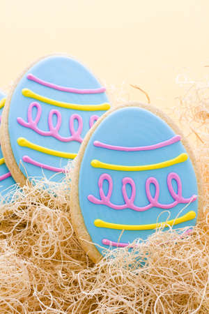 easter cookie: Blue Easter egg decorated shortbread cookie. Stock Photo