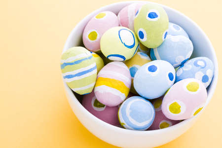 Hand painted Easter eggs wwith rought strokes of the brush. Banco de Imagens