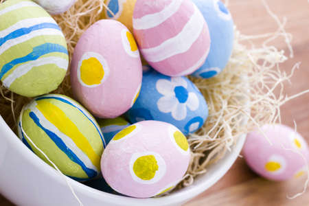 pasch: Hand painted Easter eggs wwith rought strokes of the brush. Stock Photo