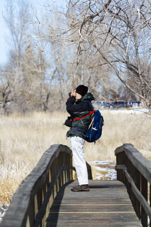 Bird watching at Barr Lake State Park, Colorado.