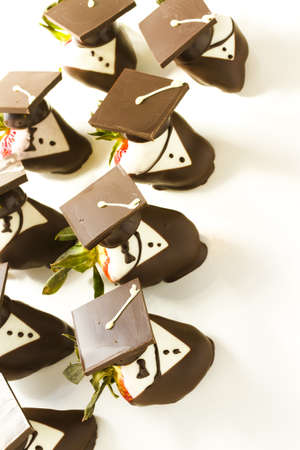 chocolate covered strawberries: Gourmet chocolate covered strawberries decorated for graduation party.