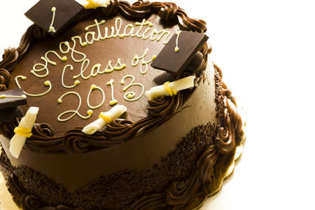 pastrie: Gourmet chocolate cake decorated for graduation party.