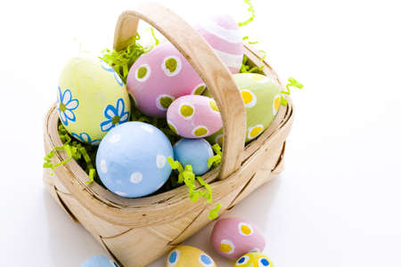 Hand painted Easter eggs with rought strokes of the brush. Imagens
