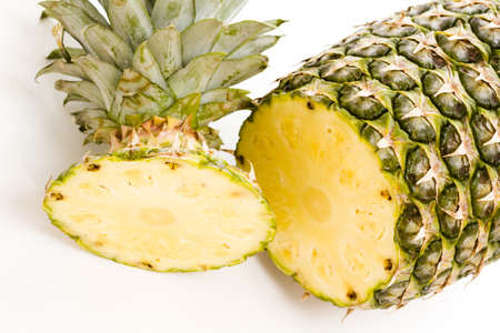 Fresh pineapple on white background.