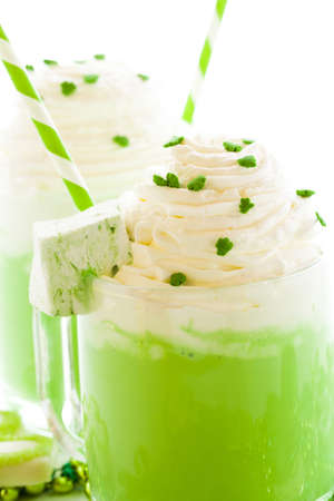 patrics: Green hot chocolate with marshmallow cube for St. Patrics Day. Stock Photo