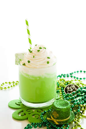 st patrics: Green hot chocolate with marshmallow cube for St. Patrics Day. Stock Photo