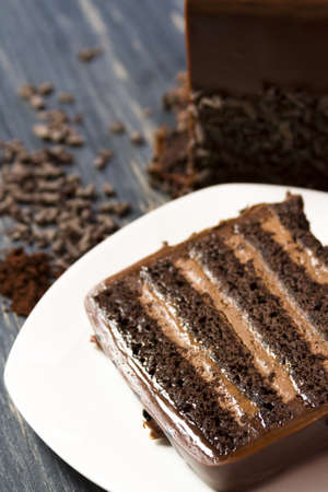 stout: Lefthand brewery milk stout cake with  multiple layers of stout-infused chocolate cake, filled with stout chocolate mousse and covered in milk chocolate ganache. Stock Photo