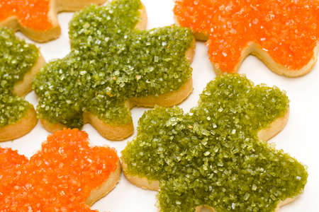 st patrics: St Patrics hand frosted clovers in orange and green.