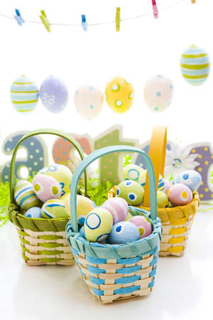 Easter basket with hand painted eggs.