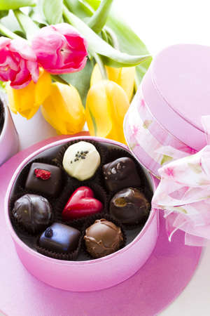 fancy sweet box: Assorted truffles in cute hat shape boxes for Mothers Day.
