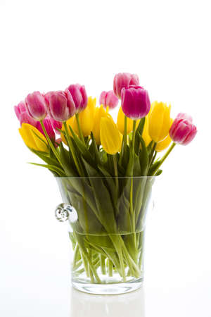 Yellow and pink tulips in spring bouquet.