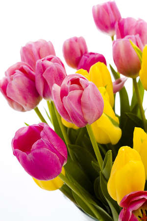 Yellow and pink tulips in spring bouquet. Imagens - 18721231
