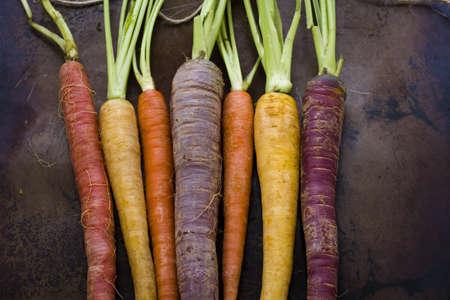 etymology: Organic rainbow carrots from the local farm. Stock Photo