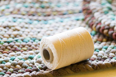 made: Hand made chrochet rug. Stock Photo