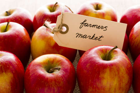 Fresh organic red apples from the local farmers market. photo