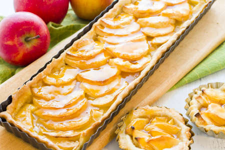 pastrie: French apple tart made with red apples and apricot glaze.