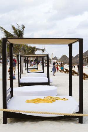 Beach cabanas at vacation resort in Cancun, Mexico. Editorial