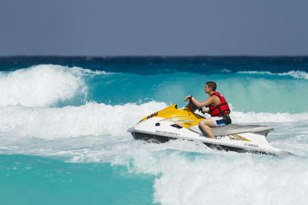 watercraft: Beach of the Caribbean Sea in daytime. Editorial