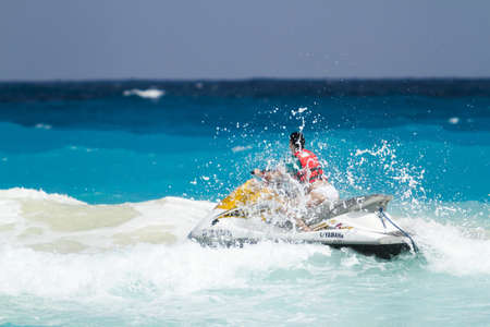 personal watercraft: Beach of the Caribbean Sea in daytime. Editorial