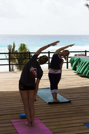 stratching: Yoga class at the vacation resort in Mexico.