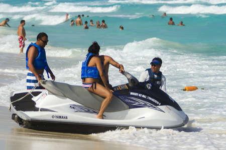 Having fun on jet ski at the Caribbian sea.