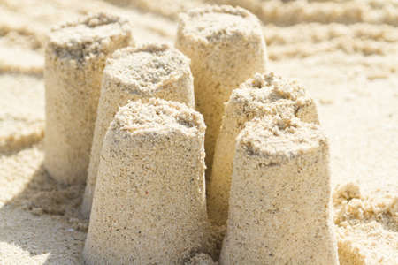 fine particles: Sand castle on the beach of Caribbean Sea.