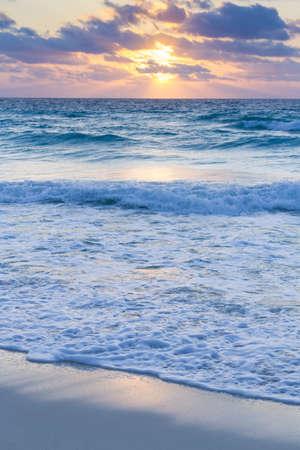 Sunrise over the beach on Caribbean Sea.
