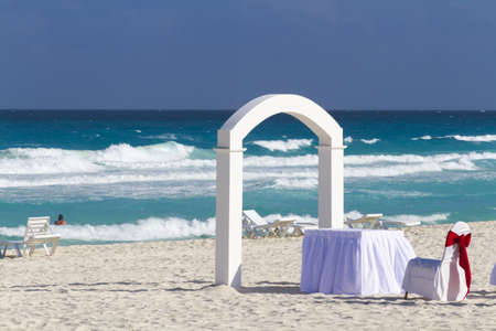 Beach wedding at the vacation resort in Mexico. photo