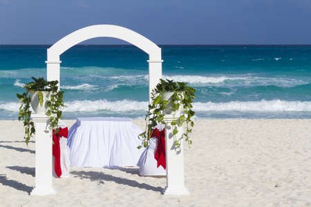 Beach wedding at the vacation resort in Mexico.