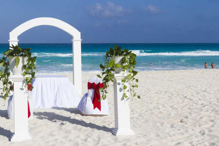 distanation: Beach wedding at the vacation resort in Mexico.