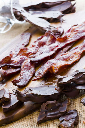 bacon love: Chocolate covered bacon with salt. Stock Photo