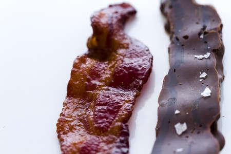 chocolate covered bacon: Chocolate covered bacon with salt. Stock Photo