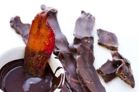 Chocolate covered bacon with salt. 版權商用圖片