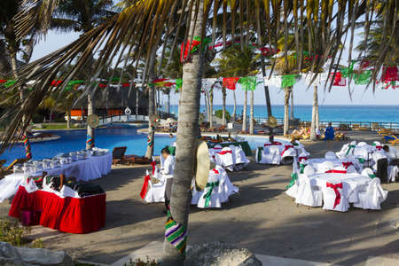 Vacation resort decorated for big distanation wedding.