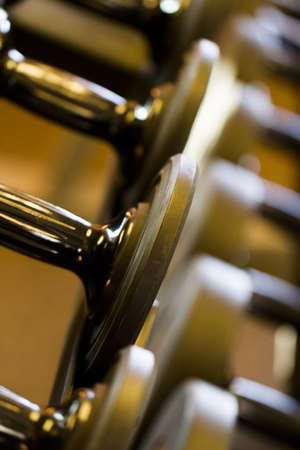 Set of weights in a small gym. Stock fotó