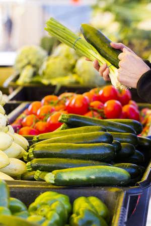 Fresh produce at the local Farmers Market. Stock Photo