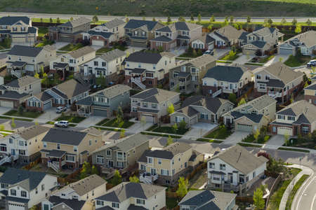 suburban: Typical american suburban development.
