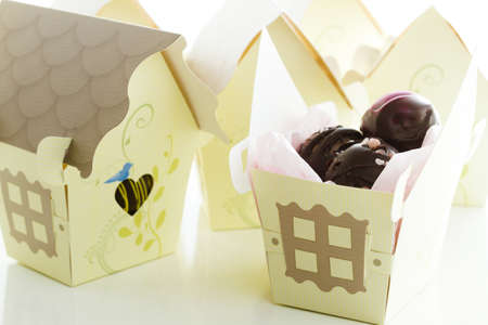favor: Miniature sweet bird houses favor boxes filled with gourmet truffles.