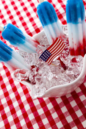 ice pop with red, white, and blue colors. photo