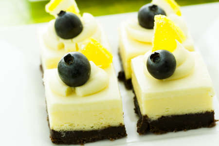 assorted petite: Small white chocolate cheesecake squares at dessert bar.