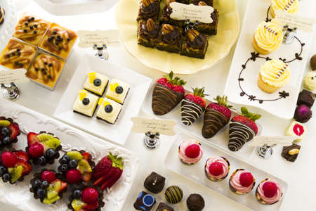 assorted petite: Dessert bar with assorted chocolate sweets.